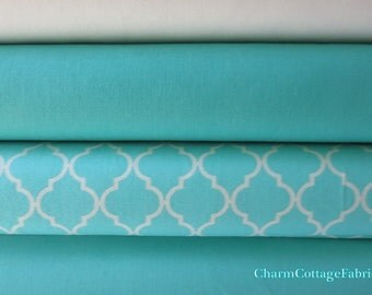 Bundle Bermuda Quattro Piccolo by Studio M, Bella Solids Bermuda / Aqua, Soft Off-White, Peacock Quilter's Cotton Bundle of 4