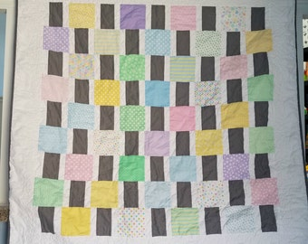 Pastel Baby Quilt, Baby Girl Crib Quilt, Handmade Modern Baby Quilt, Baby Shower Gift, Baby Blanket, Pastel Baby Blanket