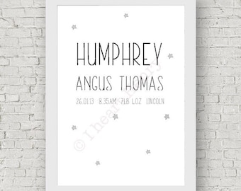 Birth details A4 print. Childrens room, nursery, little boys or girls. Christening gift present, quote illustrated stars