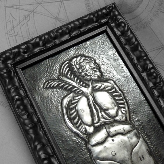 Dissected Torso : hand embossed anatomical repoussé metal wall art