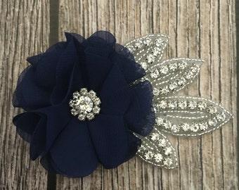 Navy hair clip, rhinestone hair clip, flower girl hair clip, wedding hair clip, hair clip, bling clip, rhinestone clip, flower girl clip