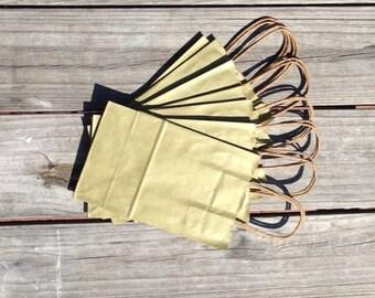 """20 Pack Metallic Gold Kraft Shopping Bag 5.5""""x3.25""""x8"""""""