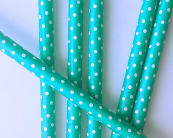 Jumbo Teal Polka dot Paper Straws-Ice Cream Party-Milkshake Straws-Paper Straws-Large paper Straws-whimsical party-drinking straws-Set of 20