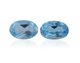 Blue Topaz Oval Cut Loose Gemstones Set of 2 Oval 6x4mm TGW 1.05 Cts