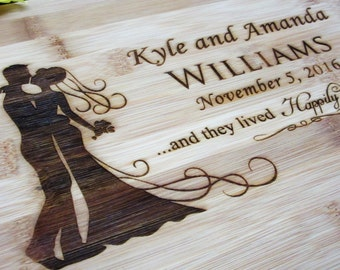 Personalized Wedding Gift - Engraved Bamboo Cutting Board