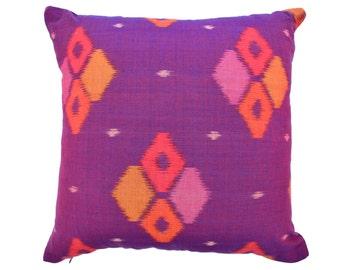 Purple Plum Ikat 16 x 16 cushion cover