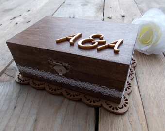 "Ring Bearer Box ""Initials"" / Wedding / Ring Box / Wedding Box / Vintage / Ring Holder / Rustic / Wood"
