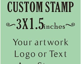 Custom rubber Stamp, Custom Logo Stamp, Wedding Stamp, Business Card Stamp,custom return address stamp,  3x1.5inches