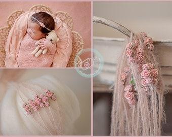 Baby Newborn Flower Tieback, Headband, Photography Prop, Blush Pink, Rose,