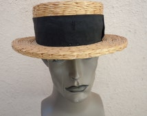 Little Worn Fabulous High-End Early 1900s Boater Hat -- Size 7 1/4