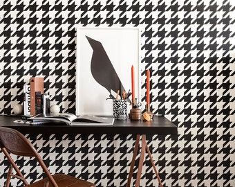 Houndstooth Black & White Wallpaper R2542