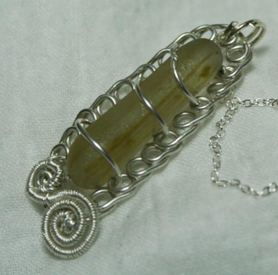 Miniature Stick of Rock - Sea Glass Necklace