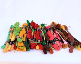 51 DMC Skeins of embroidery floss/thread in red, brown, yellow, green shades, crafting supply, embroidery supply, colorful embroidery floss
