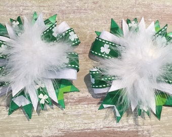 St Patricks Day Clip set, St Pattys Day Bow