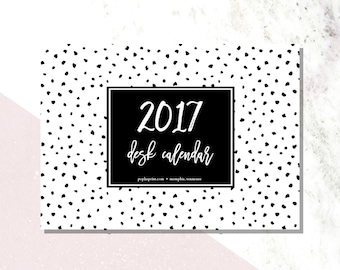 SALE SALE 2017 Desk Calendar refill- Black and White Geometric Shapes or just printed sheets to frame - C1