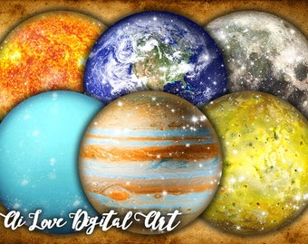 Digital collage sheet circle 2.5 inch, Space Planets, instant download, solar system printable images, round magnets making, scrapbooking