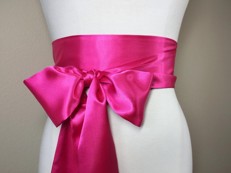 Shocking pink sash pink satin sash belt obi belt bright for Satin sash for wedding dress
