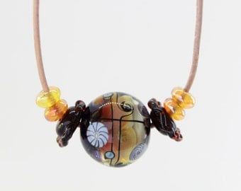 Amber Lampwork Necklace, Leather Necklace, Handmade Glass Lampwork Bead Necklace, Orange Necklace, Adjustable Necklace, Leather Necklace
