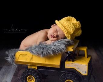 Crochet Construction Hat/Cake Smash Photo Prop/Newborn Photography Prop/Baby Shower Gift/Infant Halloween Costume/Lineman Hard Hat