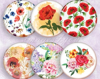 Watercolor Flowers bottle cap images for pendants round Digital Collage Sheet download cabochon 20mm 18mm, 16mm 14mm, 12mm printable circles