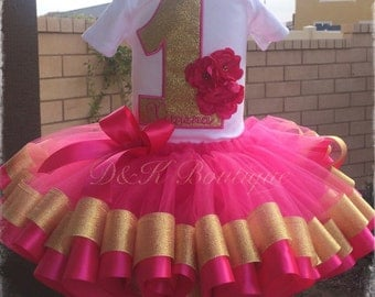 Hot Pink and Gold Flower Birthday Tutu/ ribbon edge tutu outfit with flower headband!