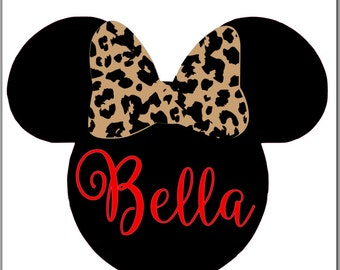 Minnie Mouse inspired with leopard bow and red name