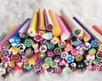 ON SALE 20/25/50/100 pcs. Mix Fimo Cane Rods Sticks,Miniature Food,Dessert,Food,Beverages Decoration, Nail Art DIY,