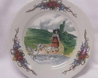 "Sarreguemines 7 1/2"" Girl with Geese plate, Obernau Series"