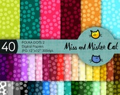 "Polka dot digital papers. Polka dot texture digital paper. Rainbow Scrapbook. Commercial use. 40 papers model ""Polka Dots 2"""