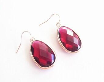 Rose Gold Earrings, Ruby Glass Rose Gold Earrings, Large Glass Drop Earrings, Holiday Earrings, Statement Earrings, Red Glass Earrings