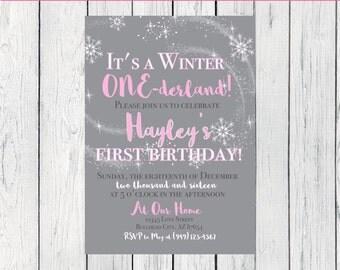 Winter One-derland Birthday Invitation-   ***Digital File*** (One-PinkWinter)