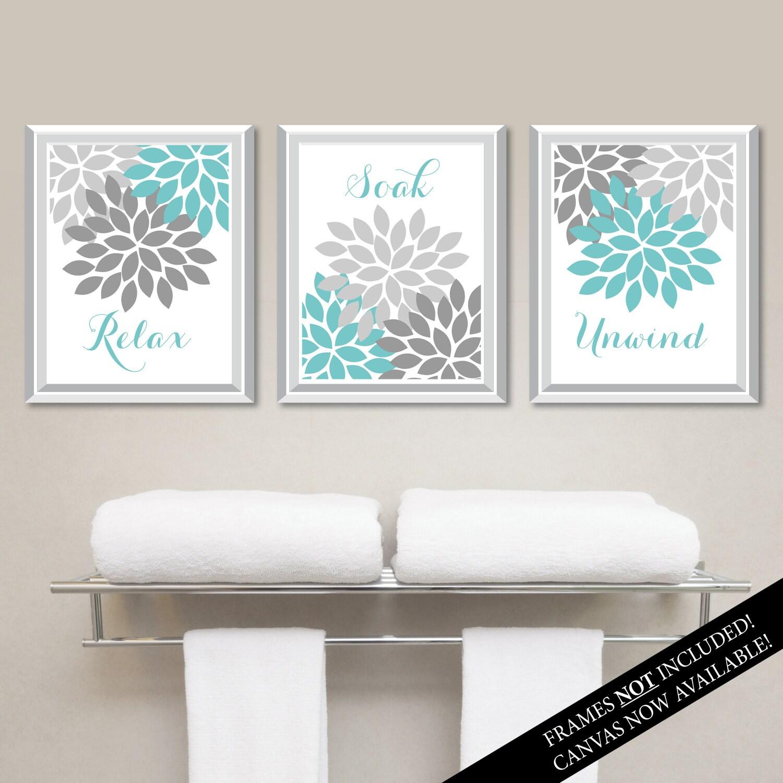 Floral relax soak unwind print trio bathroom home decor wall for Bathroom decor frames