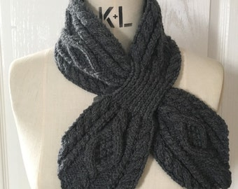Charcoal Grey Retro Knitted Cable Collar Ascot Scarf