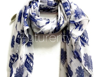 Blue Toile Prints White Scarf / Spring Summer Scarves / Women Scarves / Gifts For Her / Accessories / Handmade