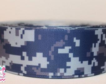 Navy Digital Camo 1 1/2 inch Grosgrain Ribbon