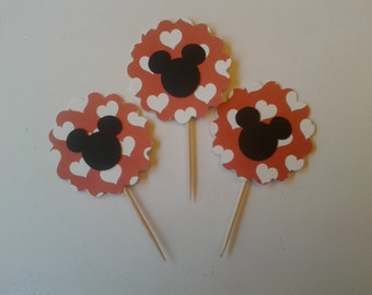 Minnie Cupcake Toppers, Minnie Mouse Cupcake Toppers, Cake Toppers, Minnie Theme Party, Minnie Mouse Birthday Party Toppers