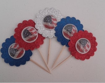 4th of July Cupcake Toppers, Flag Cupcake Toppers, Cake Topper, July 4th Toppers, Cupcake Toppers, July 4th Theme