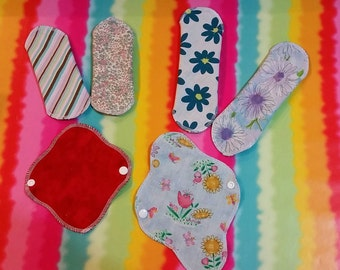 """Set of 2 - 6"""" or 8"""" Ultra Thin Cotton/Flannel Reversible Panty Liners With Wings, Random Prints"""