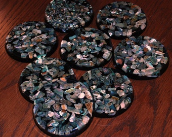 Plympton's Lucite Coasters with Inlaid Abalone Shells