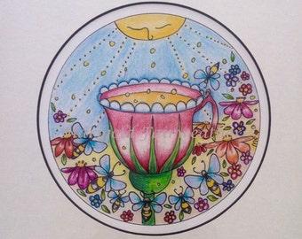 "Mandala art, ""Ambrosia"" print, archival quality"