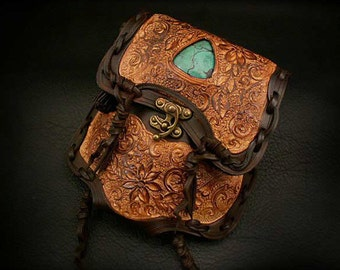Leather Medicine Bag with Turquoise Stone Waist Bag Brown Carving K06D22