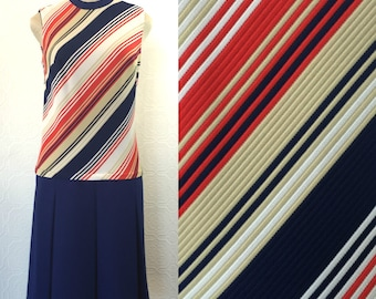 1960s Nautical Stripe Drop Waist Dress Size 8 Large