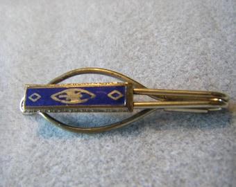 Vtg. silver tone blue enamel tie clip