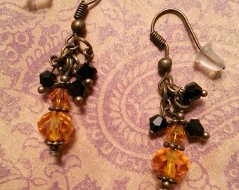 Orange and Black Crystal & Bronze Earrings