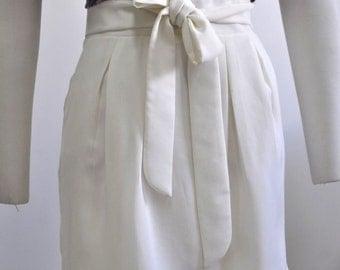 Joy Holiday Pleated High Waist Bow Skirt Ivory S