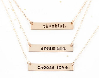 Mantra Necklace, Choose Love, Gold Bar Mantra Necklace, Dream Big Necklace, Personalized Necklace, Hand Stamped Necklace, Gratitude Jewelry