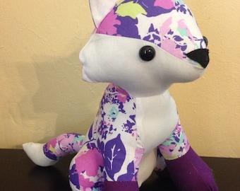 Purple and pink flowered stuffed fox/nursery decor/woodland animal