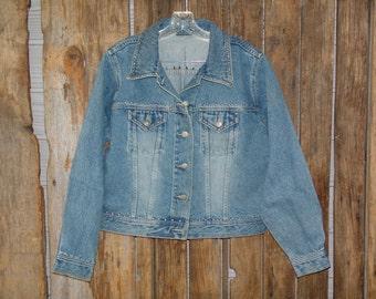 Vintage silver studded blue denim jean jacket