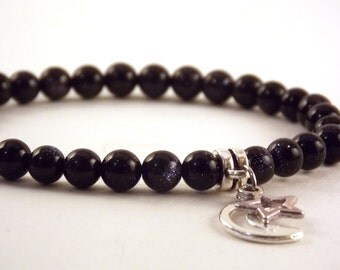 Blue Goldstone Star and Moon Charm Bracelet Gift For Her