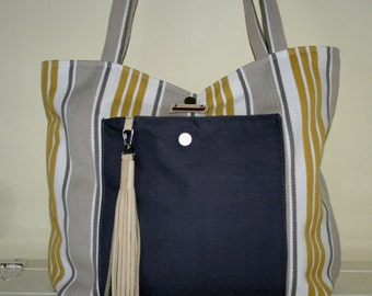 Stripy shoulder tote bag in yellow